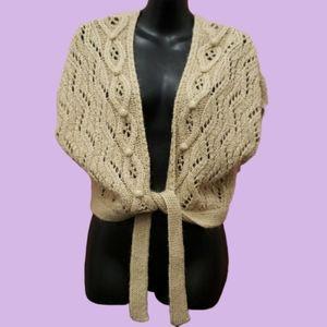 Ann Taylor loft beige mohair mix sweater wrap lg